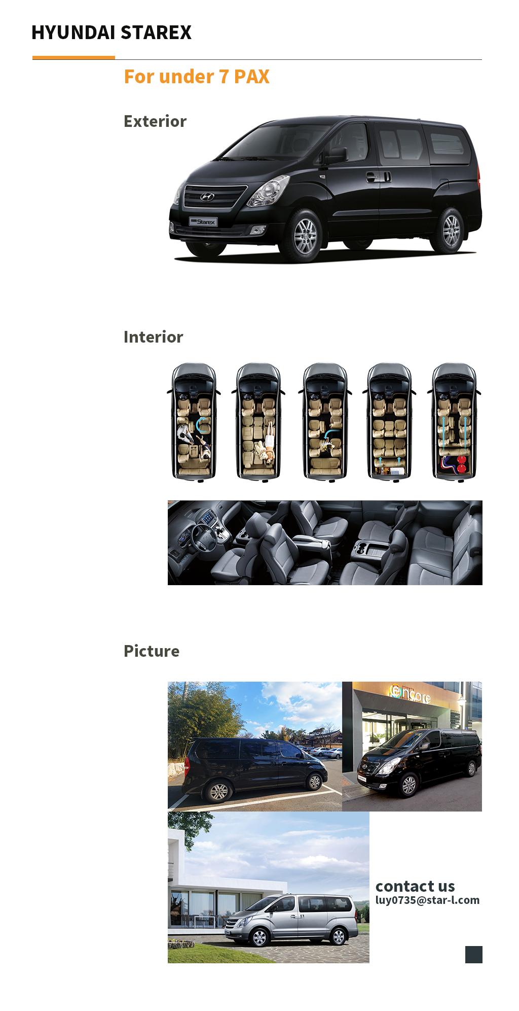 Hyundai Starex for under 7 pax